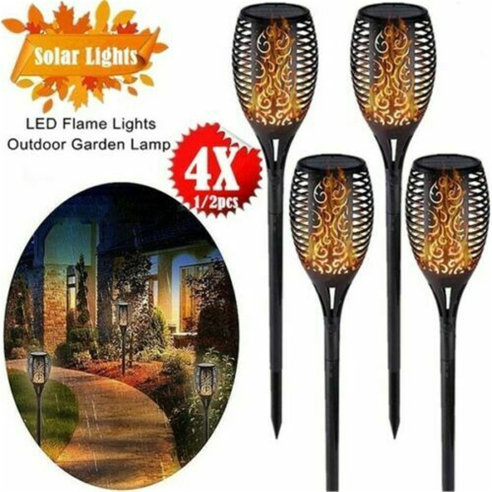4pcs Outdoor 12LED Solar Flickering Flame Light Date Night Garden Decoration Landscape Lawn Lamp Waterproof 30,000 Hours Living