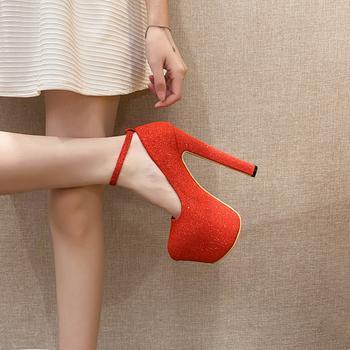 Damskie buty na wysokim obcasie 16cm buty na koturnach czarne damskie obcasy i buty klasyczne buty na wysokim obcasie damskie buty biurowe damskie + buty tanie i dobre opinie DiJiGirls Gladiator Plac heel CN (pochodzenie) Super Wysokiej (8cm-up) Pasuje prawda na wymiar weź swój normalny rozmiar