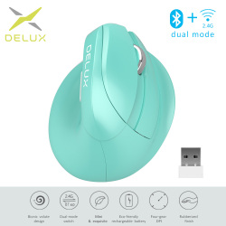 Delux M618 Mini Bluetooth 4.0 Silent click Wireless Mouse 2400 DPI Ergonomic Rechargeable Vertical Mice with USB 2.4GHz Mode