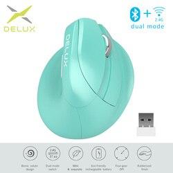 Delux M618 Mini Bluetooth 4.0 Silenzioso fare clic Del Mouse Senza Fili 2400 DPI Ergonomico Modalità Ricaricabile Verticale Mouse con USB 2.4GHz
