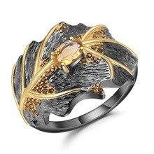 Nuevo anillo de moda de lujo guardián negro para hombre, anillo de circón amarillo para mujer, para el Día de San Valentín alianzas de boda, regalos de joyería y anillos para parejas