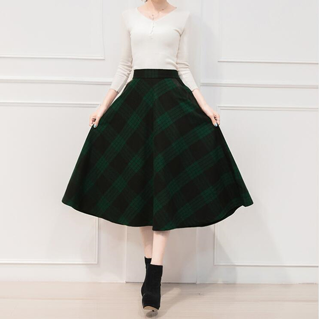 Neophil England Style Red Plaid High Waist Midi Skirts Woolen Plus Size 3XL A Line Pleated 2019 Winter Women Tartan Skirts S1735 5