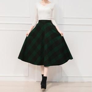 Image 5 - Neofil saia midi cintura alta estilo inglaterra, xadrez vermelho plissada linha 2020 inverno mulheres saias s1735
