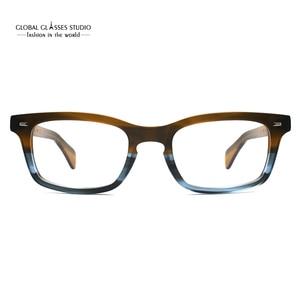 Image 2 - קלאסי משקפיים מסגרות אצטט גברים מרשם משקפיים רטרו קוצר ראייה משקפיים טלאי מעצב אופטי מסגרות משקפי 617g