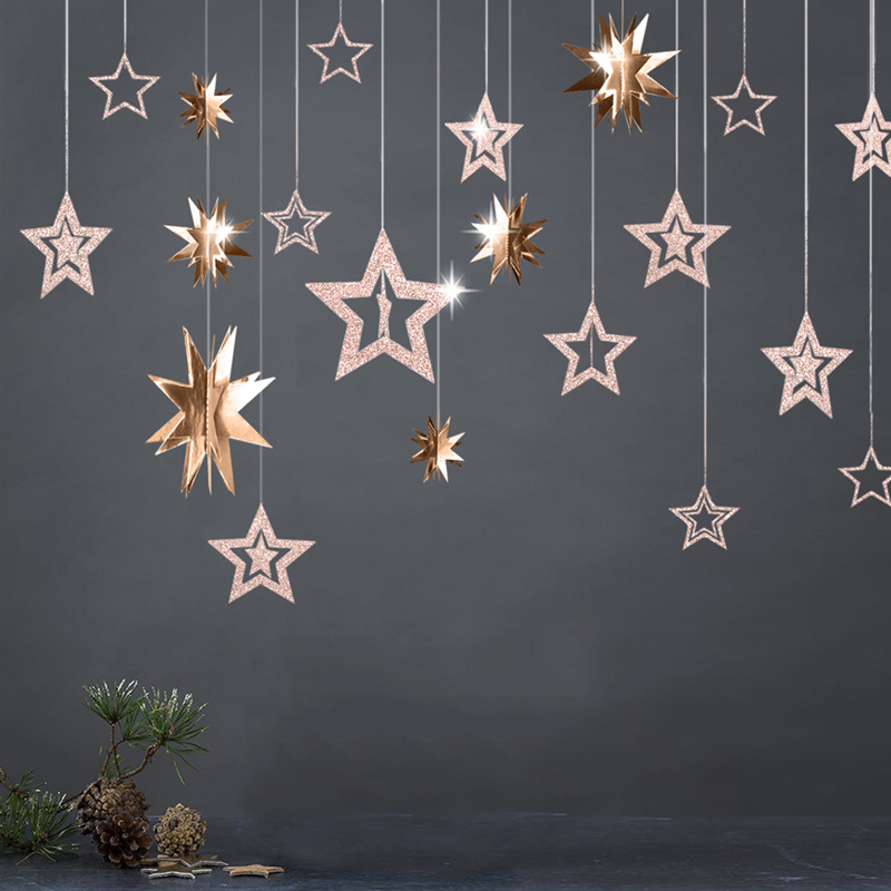 Rose Gold Hollow Star Paper Garlands Banner Hanging for Wedding Christmas Decorations Kids Birthday Party Supplies Baby Shower