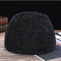 Frence Gentleman Hats Genuine Sheepskin Fur Male Cold Winter Leifeng New Cap Bomber Hats 2019 Casual wool Men's Fur Hats
