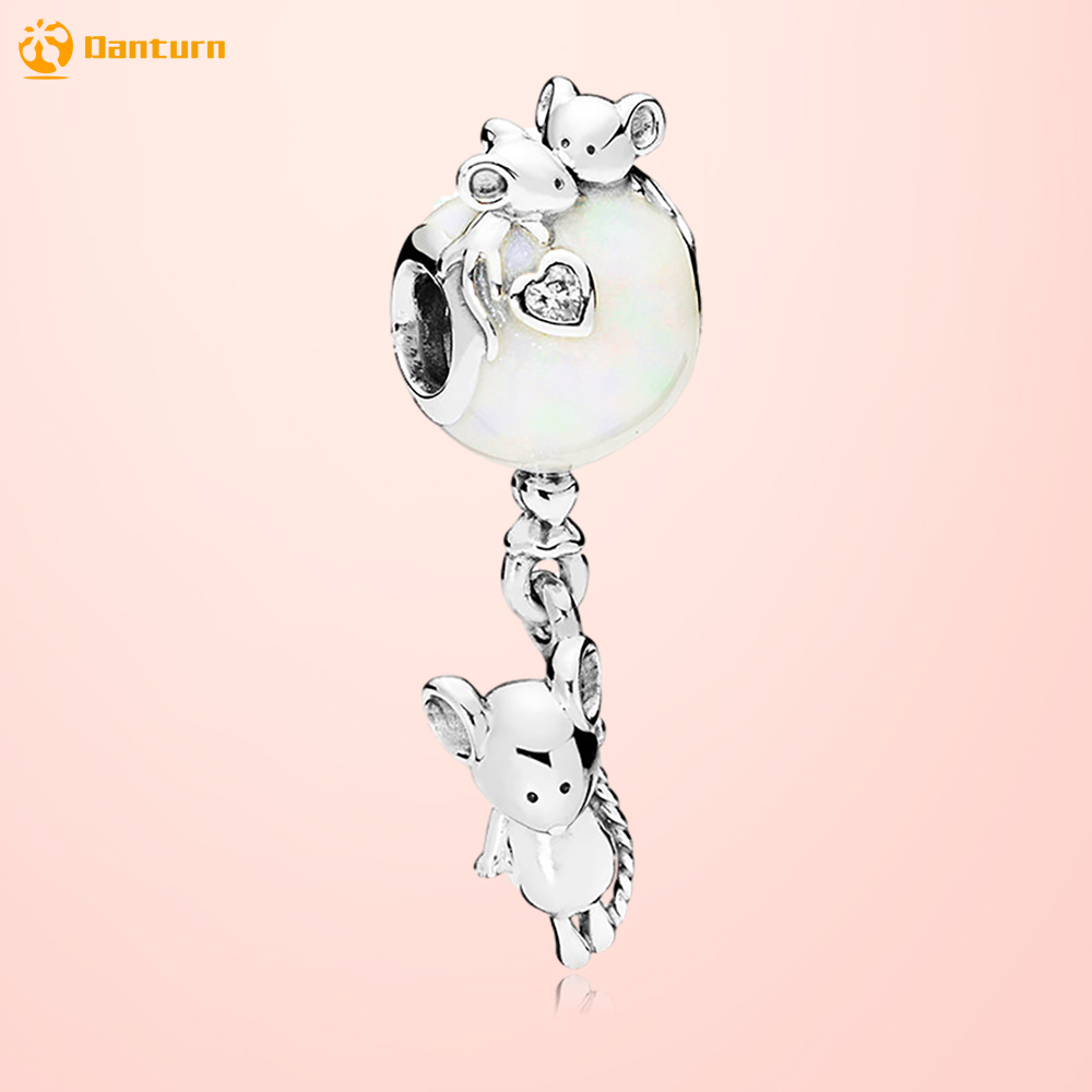 Danturn 925 Sterling Silver Beads Mouse Balloon Dangle Charms fit Original European Bracelets for Jewelry Making Gift