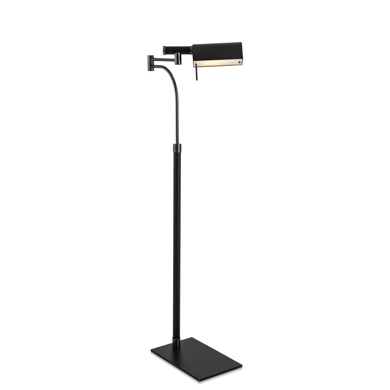 135cm High New York Design Floor Lamp With Metal Shade And Leather Veneer