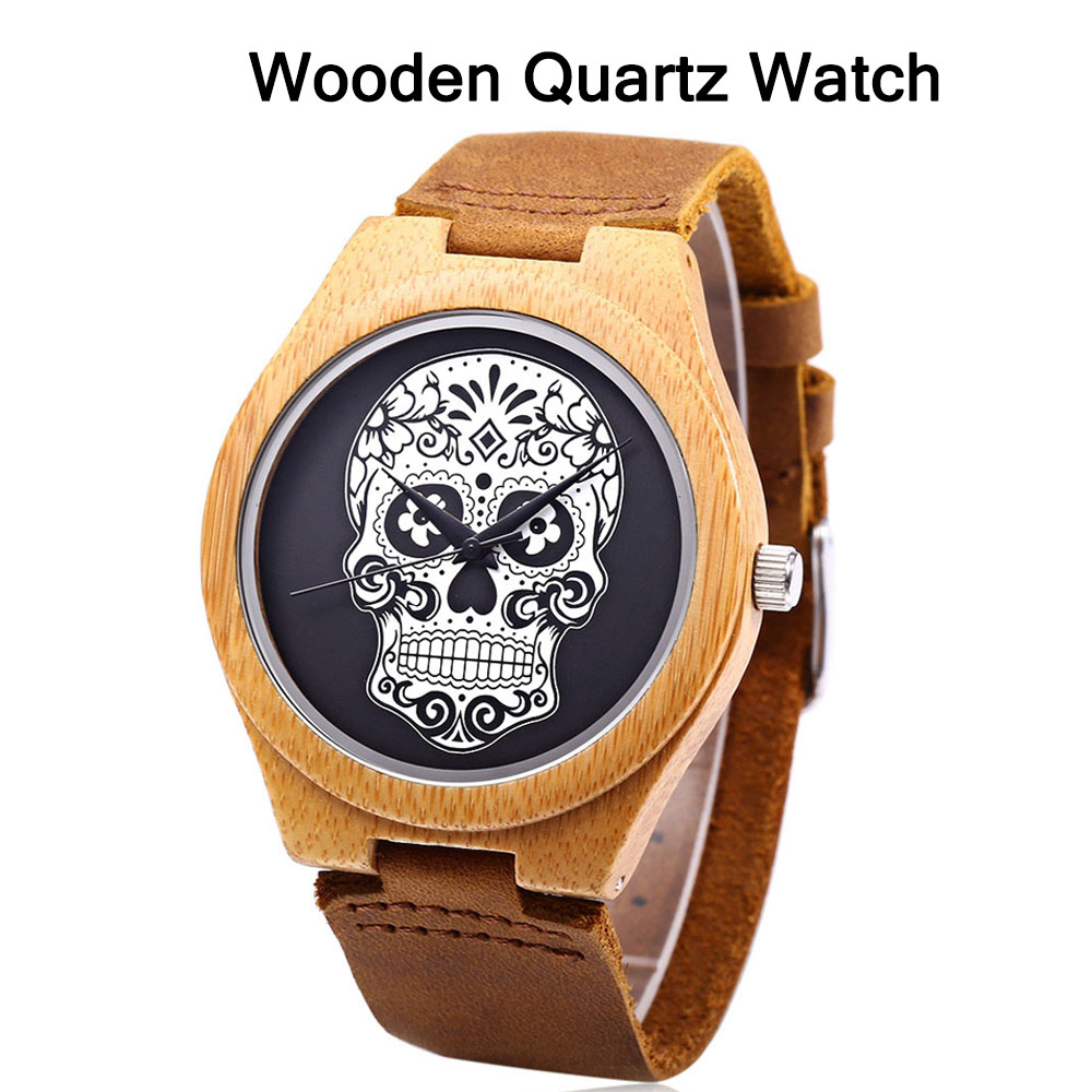 Men's Watch Sports Watches Wooden Quartz Watches Men Casual Male Men's Wristwatch Clock Skull Watch Men Watches Hot Sale Luxury