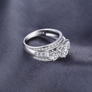 Image 2 - Bijoux palace 3 pierres CZ bague de fiançailles 925 en argent Sterling anneaux pour les femmes anniversaire anneau de mariage anneaux argent 925 bijoux