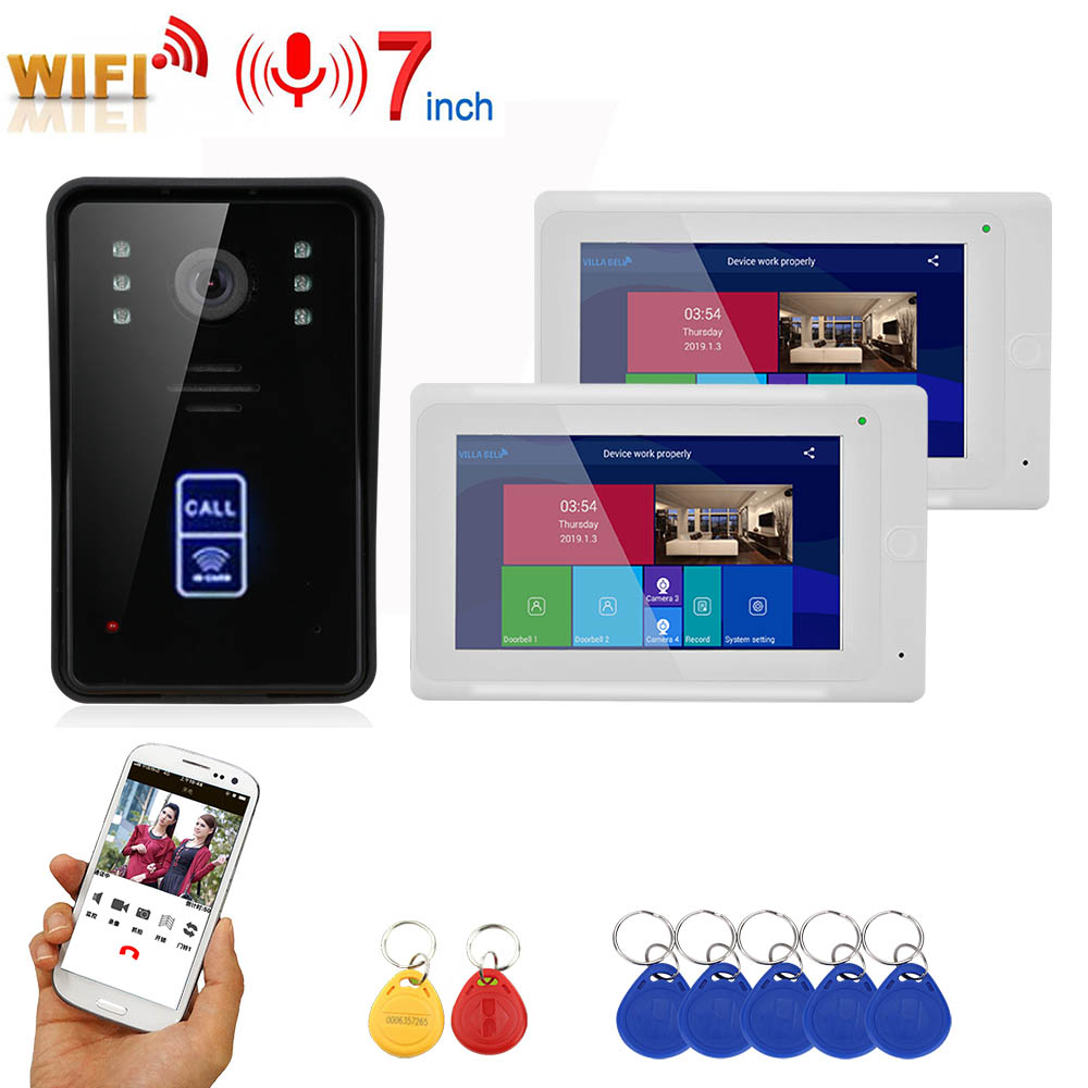 2 monitore 7inch Drahtlose Wifi RFID Video Tür Telefon Türklingel Intercom Entry System mit Wired IR CUT 1080P Verdrahtete kamera