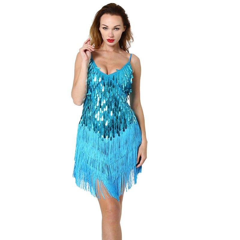 BacklakeGirls Cocktail Dresses Women Cheap A-line Sequins V-Neck Sleeveless Fringed Tassels Hem Flapper Short Prom Dress