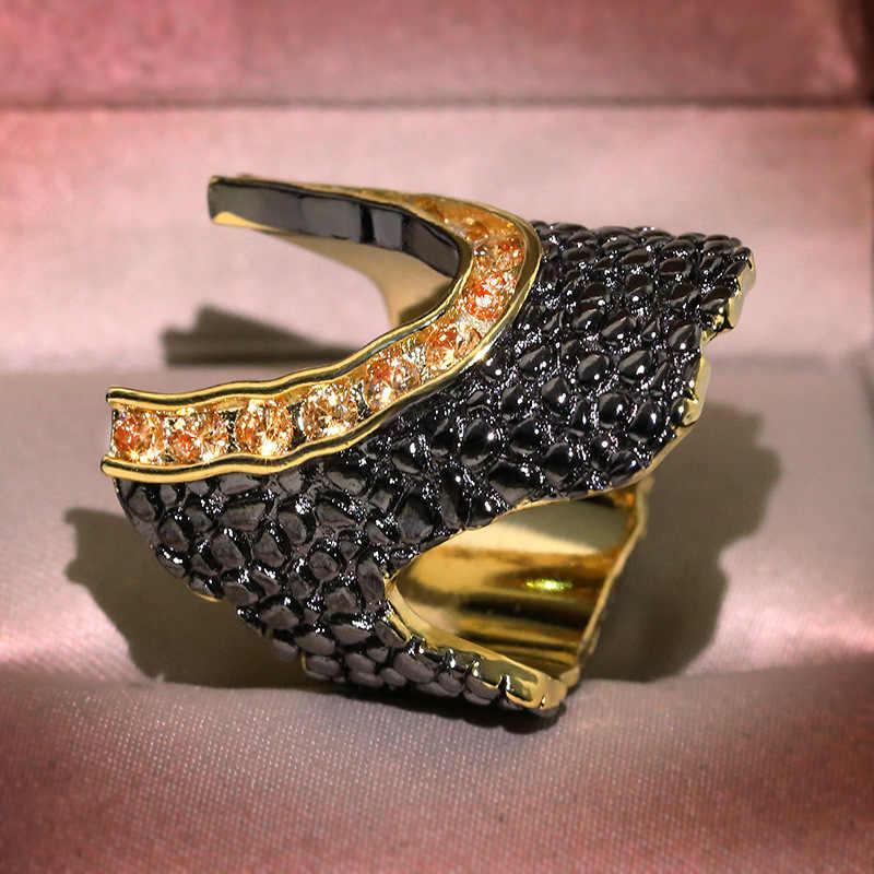 Anillo hueco de oro amarillo de piedra negra Retro, joyería Punk para hombres y mujeres, anillos de dos tonos con árbol de corteza de herradura, anillos bague Z4T420