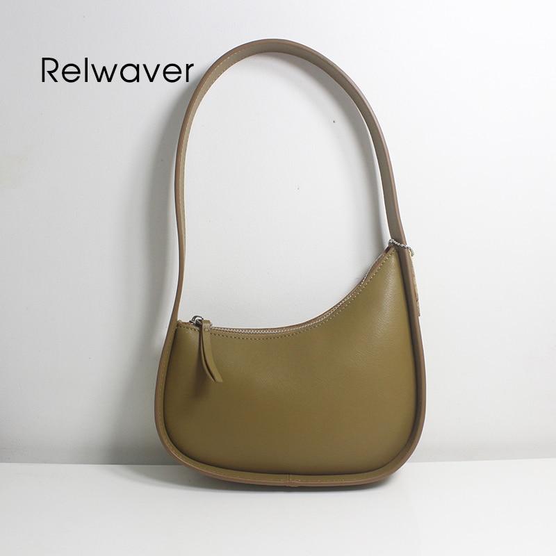 Cowhide women shoulder bag vintage fashion underarm bag small new moon zipper women handbag chic in trend hobos bag 1