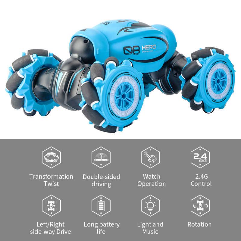 D876 1:16 4WD RC Mobil Radio Gerakan Induksi Musik Lampu Twist Kecepatan Tinggi Stunt Remote Control Off Road Kendaraan Drift balap Listrik Deformasi Model Mobil mainan untuk Anak-anak / Orang Dewasa