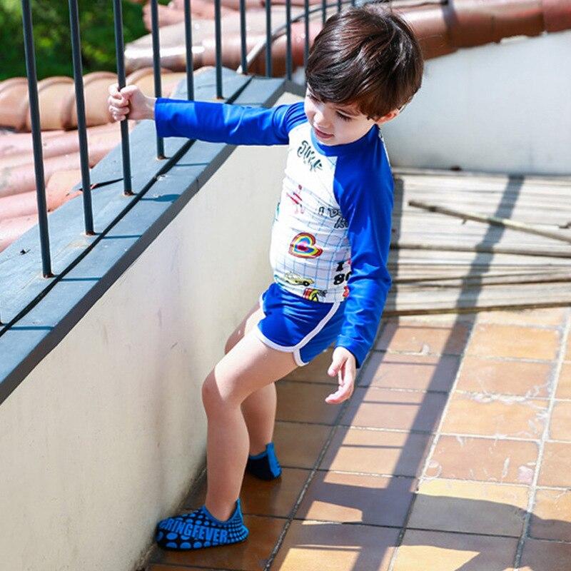 KID'S Swimwear Middle And Large Boy BOY'S Outside Korean-style Split Type Boxer Long Sleeve Sun-resistant Students Tour Bathing