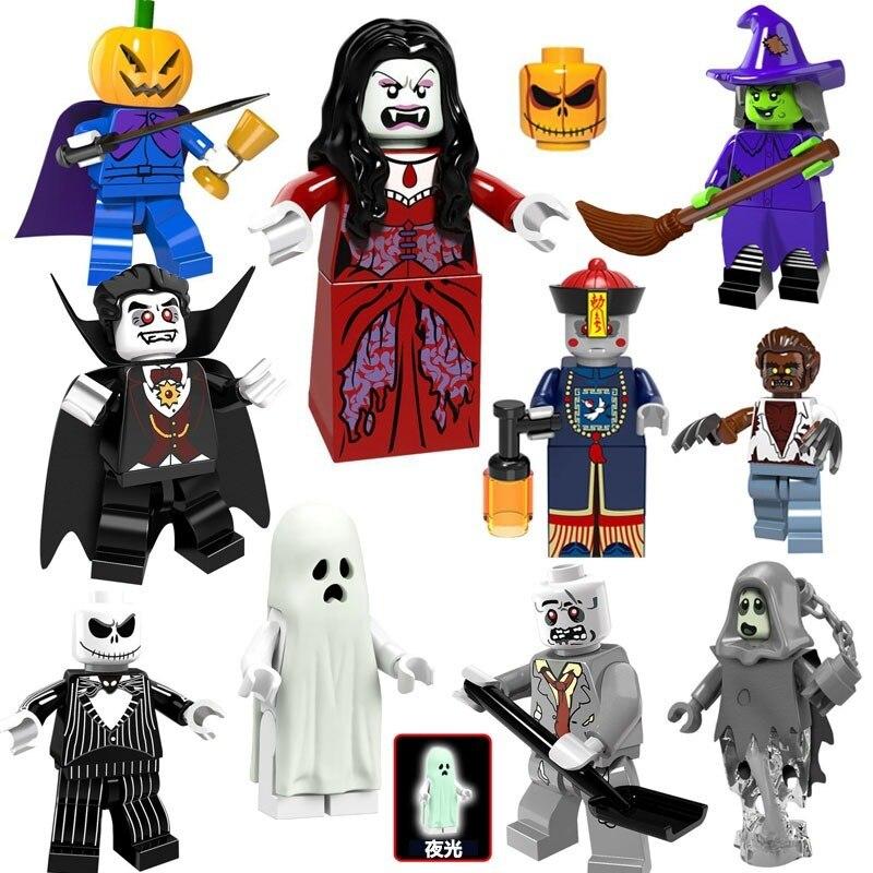 10pcs/set Halloween  Skeleton Witch Zombie Ghosts Series Pumpkin Man Werewolf Vampire Building Blocks Toys