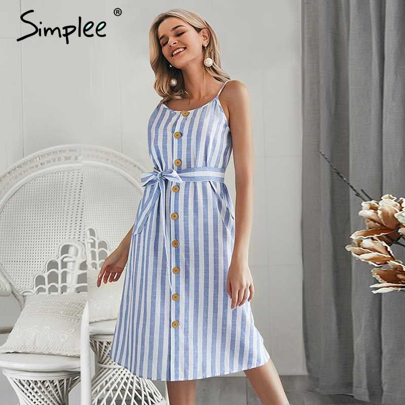 Simplee Elegant stripe print women summer sundress Sexy spaghetti strap dress Button Sashes female maxi long dress vestidos 2019