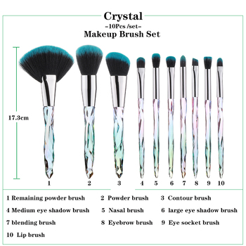 FLD Professional 10Pcs Makeup Brush Set Crystal Face Powder Blush Brushes Set Eyeliner Eyebrow Make Up Tools Kits 2
