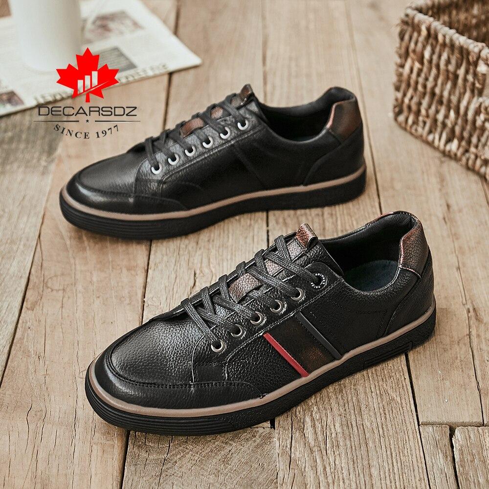 DECARSDZ Men Geunine Leather Shoes Man 2021 Spring Autumn Fashion Comfy Lace-Up Men Shoes High Quality Men Causal Shoes 3
