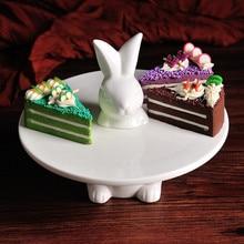 Белая креативная Милая керамическая тарелка для свадебного торта с кроликами, десертная подставка для торта, декоративный поднос для фруктов, современные украшения для дома