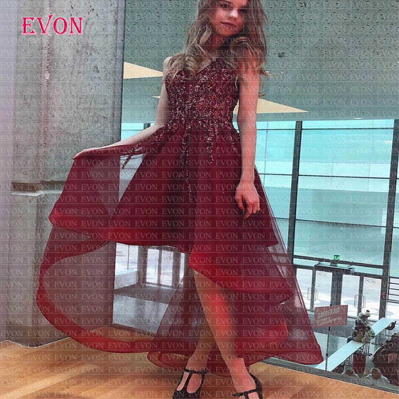 Cheap Vestido De Gala Burgundy High Low   Prom     Dresses   2020 Custom Made V Neck Crystal Beaded Graduation Party   Dress     Prom   Gowns