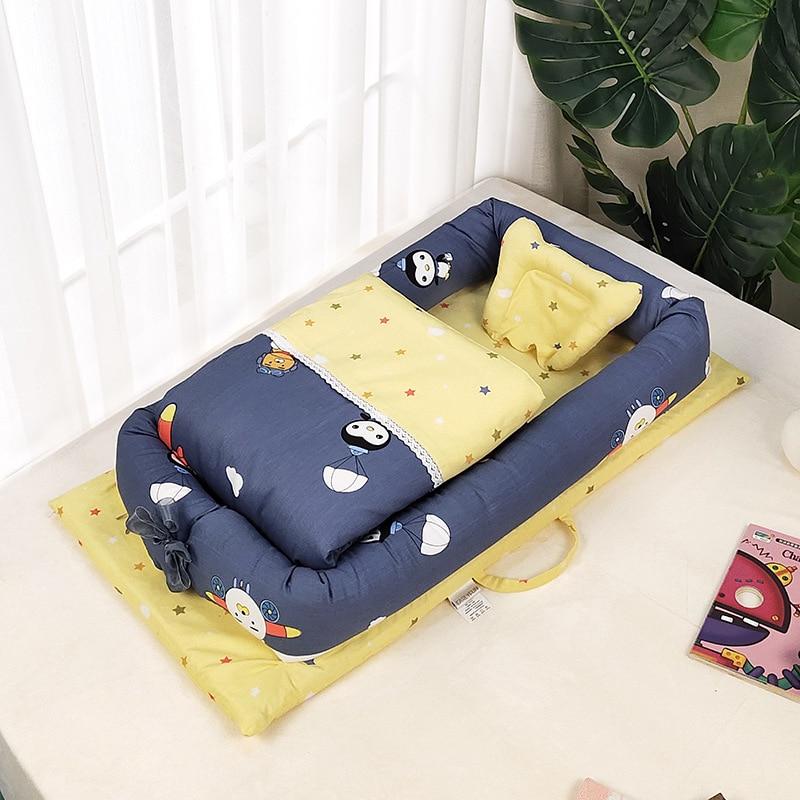 Lit bébé nid berceau avec couette Portable amovible lit de voyage lavable lit pour enfants berceau en coton infantile pour nouveau-né pare-chocs