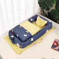 เด็ก Nest เตียงพร้อมผ้าห่มแบบพกพาล้างทำความสะอาดได้ Crib เตียงสำหรับเดินทางเด็กทารกผ้าฝ้าย Cradle สำหรับทารกแรกเกิดกันชน