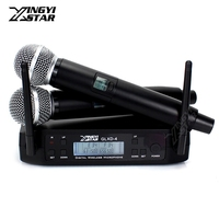 600 650MHz Professional UHF Wireless Microphone System 2 Channel 2 Cordless Handheld Mic For SM 58 SM58LC Micro Karaoke Mixer DJ