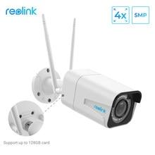 Reolink wifi câmera 5mp bala 2.4g/5g 4x zoom óptico embutido microfone slot para cartão sd visão noturna ao ar livre uso interno RLC-511W