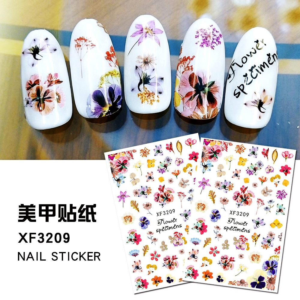 <font><b>Nail</b></font> Art Water <font><b>Sticker</b></font> Flower <font><b>Sexy</b></font> Leopard Beauty Slider Bloom Colorful Plant Pattern 3D Manicure Sticke <font><b>Nails</b></font> Decorations image