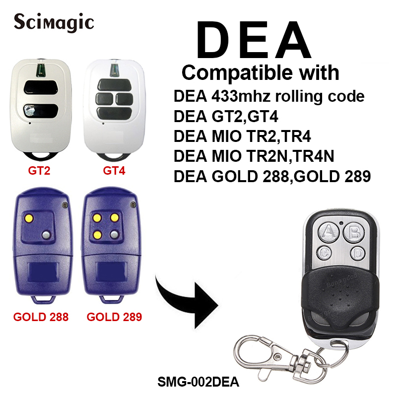 DEA Garage Door Remote Control 433.92mhz Rolling Code Opener DEA GT2, GT4, GOLD 288, GOLD 289 Command Transmitter Gate Control