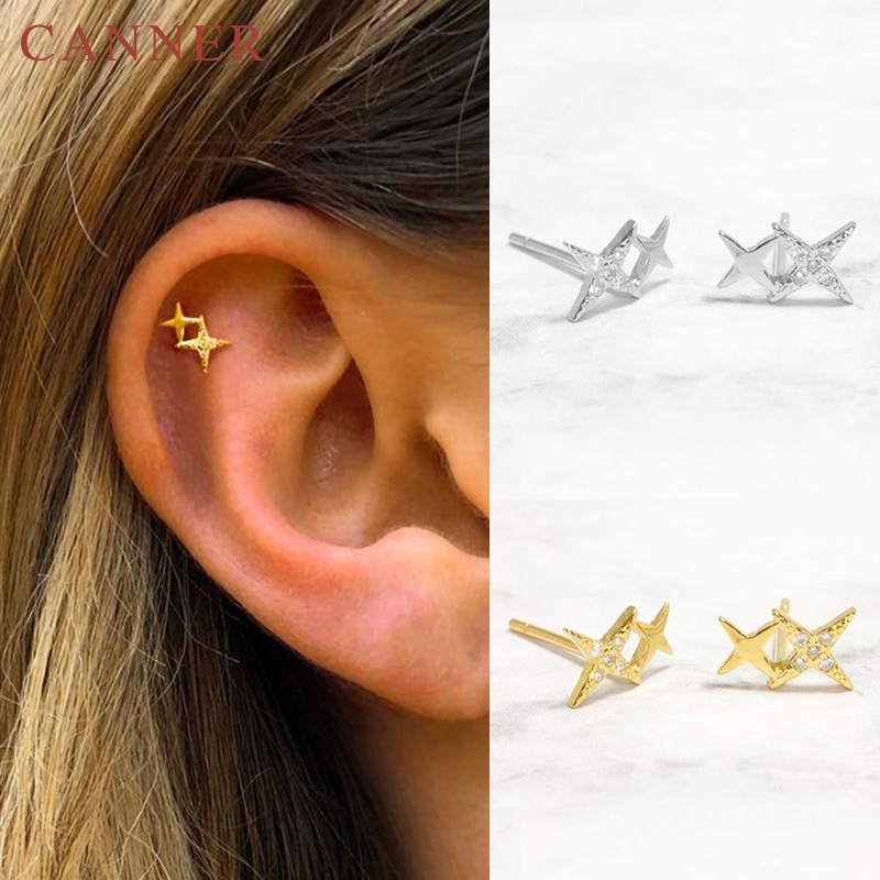 925 Sterling Silver Stud Earrings for Women Minimalist Gold Silver color Geometric Triangle/Round/Star Earrings Fashion Jewelry