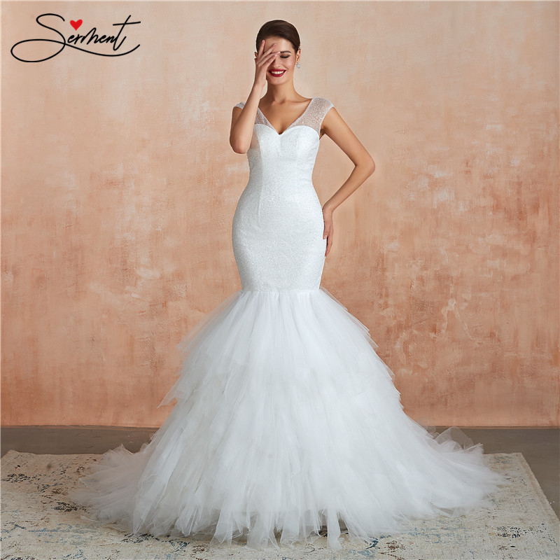 OLLYMURS Luxury Fishtail Lace Wedding Dress Mermaid Sexy Backless Floor-Length V-neck Suitable Pregnant Women Free Custom Made