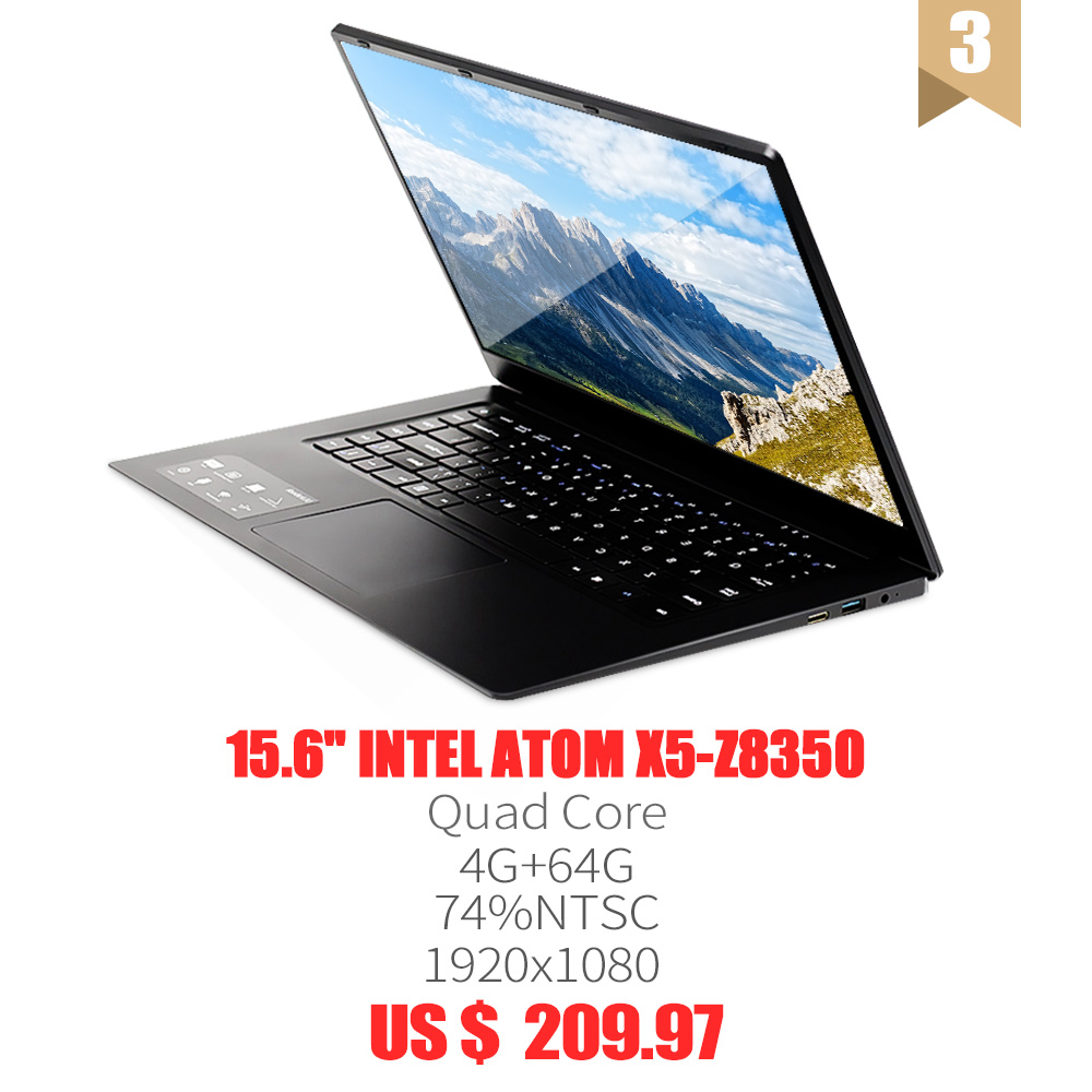 15.6 Ultra-thin Laptop Computer Intel E8000/Z8350 Quad Core 4G+64G SSD 2.4G/5G WiFi Bluetooth HDMI Movie/Sport/Gamin Notebook image