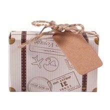 50 Uds. Mini maleta Favor caja fiesta Favor caja de dulces, Papel kraft clásico con etiquetas y cuerda para boda/viajes fiesta temática/Brid