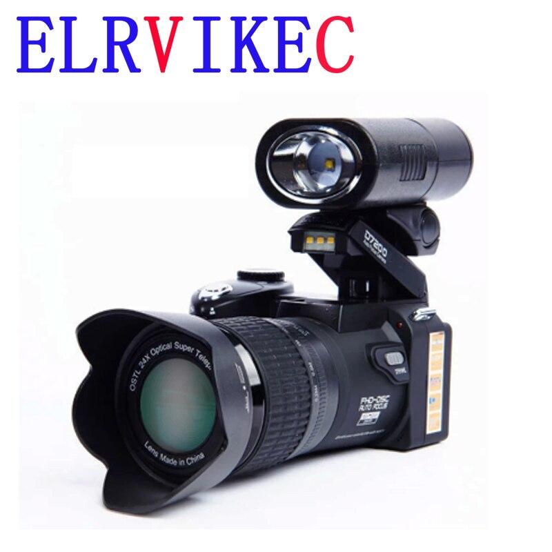 Цифровая камера ELRVIKEC 2021 HD POLO D7200, 33 миллиона пикселей, автофокус, Профессиональная зеркальная видеокамера 24X, оптический зум, три объектива