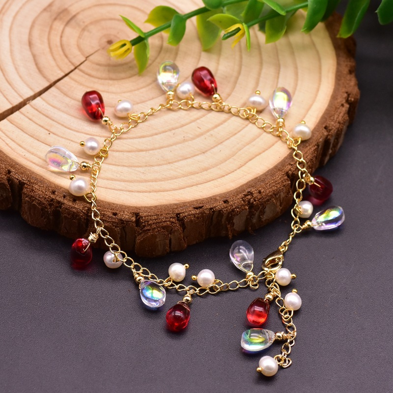 Handmade Natural Fresh Water White Pearl Bracelets For Women Wedding Engagement Handmade Jewelry Bangle Czech Crystal Vintage