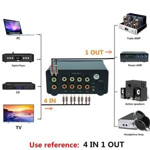 Image 4 - 4 (1) en 1 (4) sortie 4 voies entrée audio RCA signal câble séparateur sélecteur commutateur schalter Source connecteur distributeur boîte