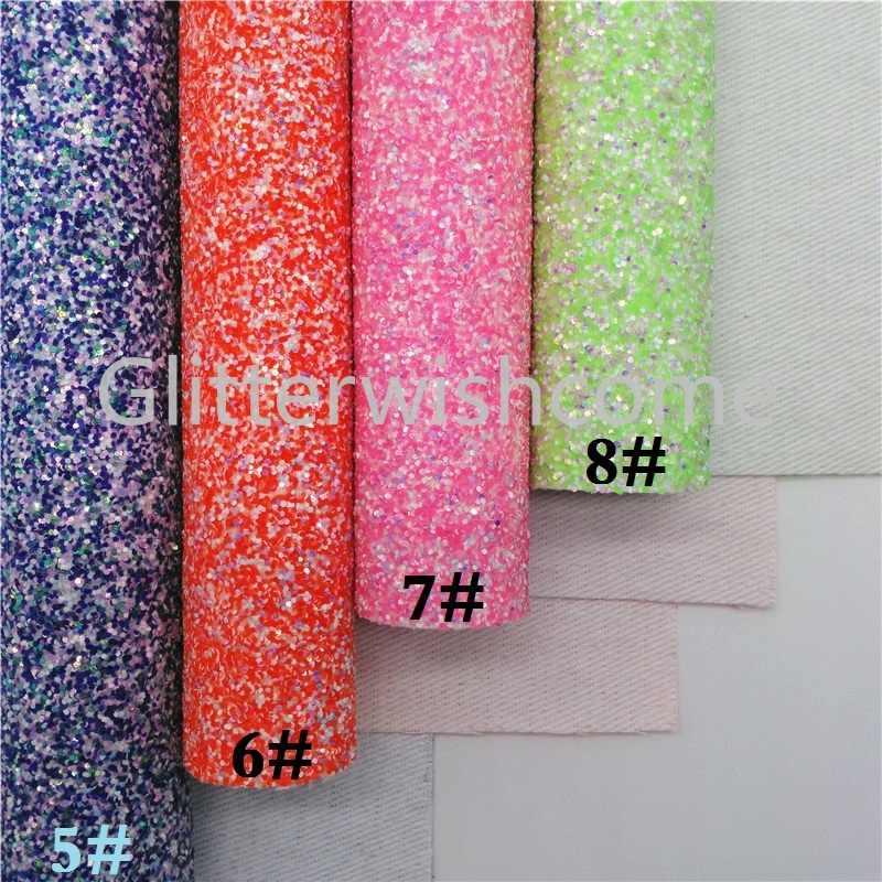 Glitterwishcome 21X29CM A4 Formato Neon Glitter Tessuto Lenzuola, Chunky Tessuto di Scintillio di Cuoio Lenzuola, colori misti per Gli Archi, GM467A