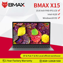Bmax x15 portátil intel gemini lago n4120 15.6 polegadas intel uhd gráficos 600 8gb lpddr4 ram 128gb ssd windows10 notebook