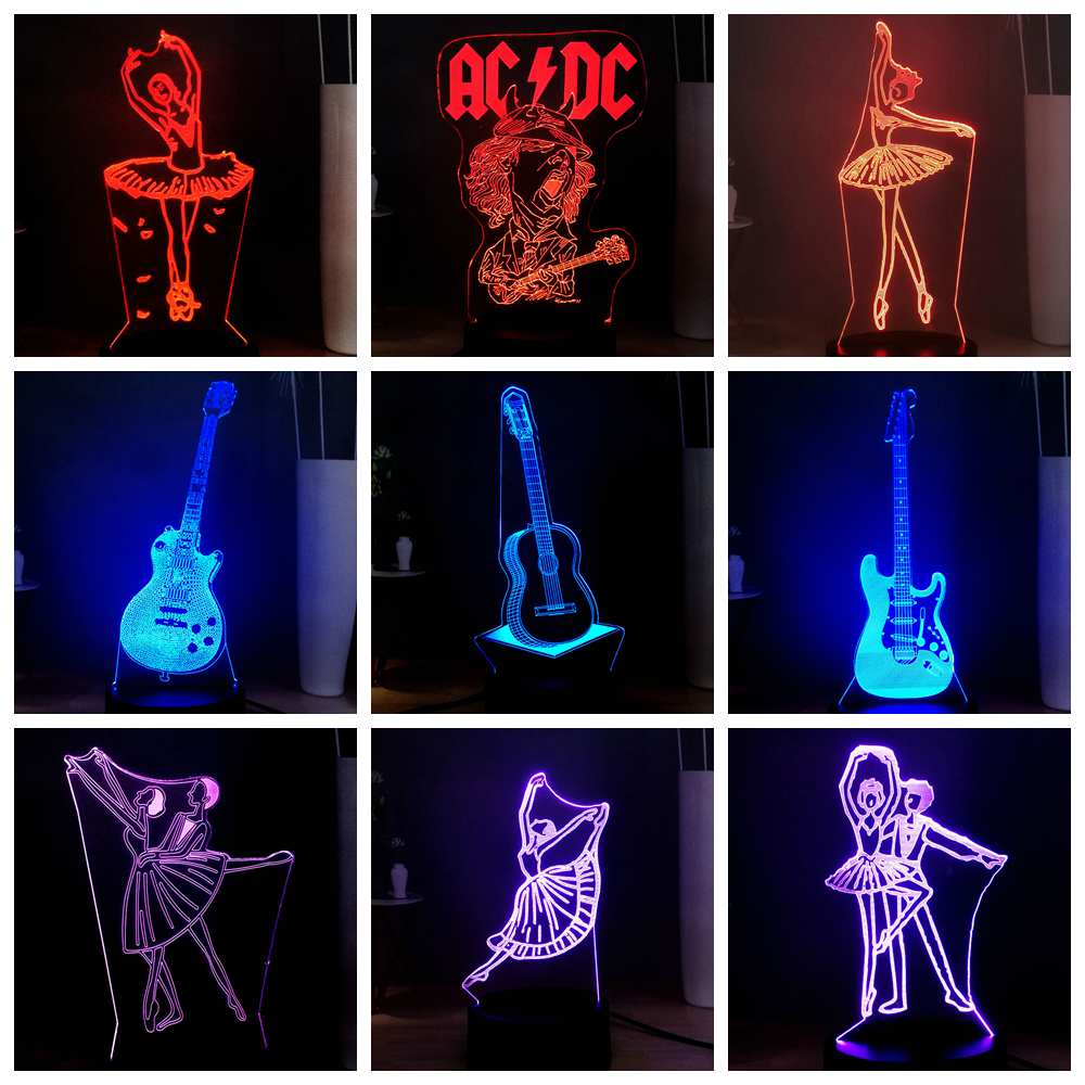 3D Illusion Art Night Lamp Ballet Dancer Ballroom Dance Rock Singer Guitar Bass USB Switch Multicolor LED Sleep Night Light Gift