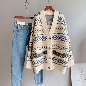 2020 Women Autumn V-Neck Sweater Long Sleeve Striped Women Warm Sweater Poncho Winter Casual Women Cardigans Pull Femme 1