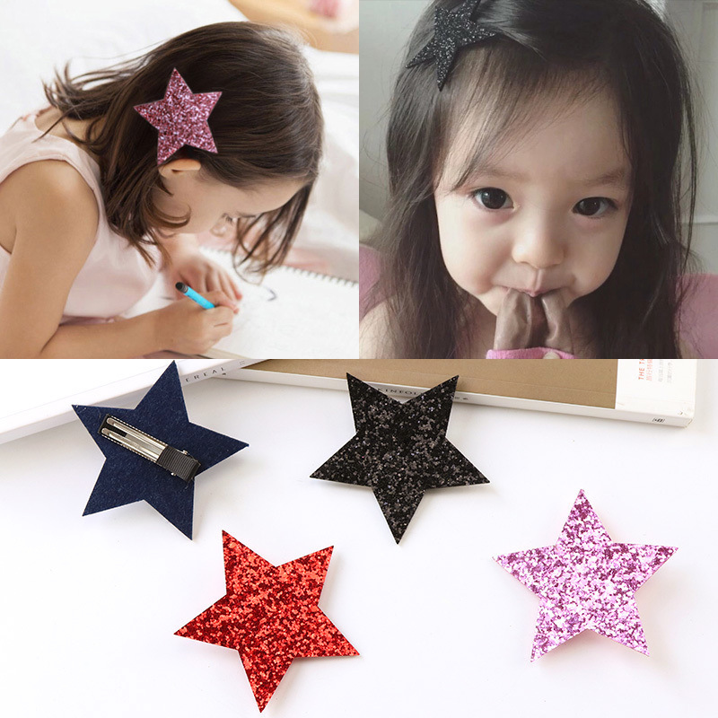 Baby Fashion Shiny Sythetic Leather Star Barrette For Kid Girls Bling Leather Hair Clips Toddlers Hair Pins Hair Accessories