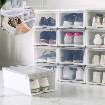 Clamshell Shoes Box Large Thicken Transparent Plastic Drawer Organizer Home Stackable Basketball Shoe Storage Case with Cover