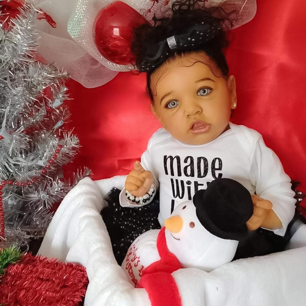 22 Inch Reborn Baby Dolls Silicone Reborn Baby Toy Realistic Reborn Baby Doll Newborn Doll Black Baby Bonecas Children Gift