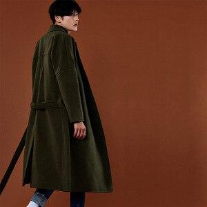 Image 3 - Abrigo de Cachemira de estilo coreano informal para hombre, chaqueta holgada de lana, abrigo de una botonadura