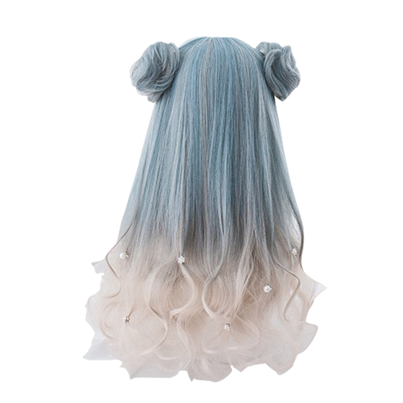 L-email Wig Long Gradient Lolita Wigs Wavy Woman Hair Cosplay Wig with Buns Halloween Heat Resistant Synthetic Hair