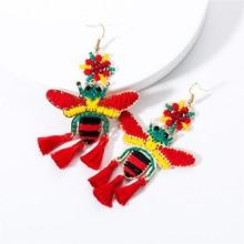 2019 new summer fashion European bee cotton rope woven tassel earrings Bohemian retro popular womens