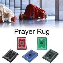 Portable Waterproof Muslim Prayer Mat Rug With Compass Vintage Pattern Islamic Eid Decoration Gift Pocket Sized Bag Zipper Style